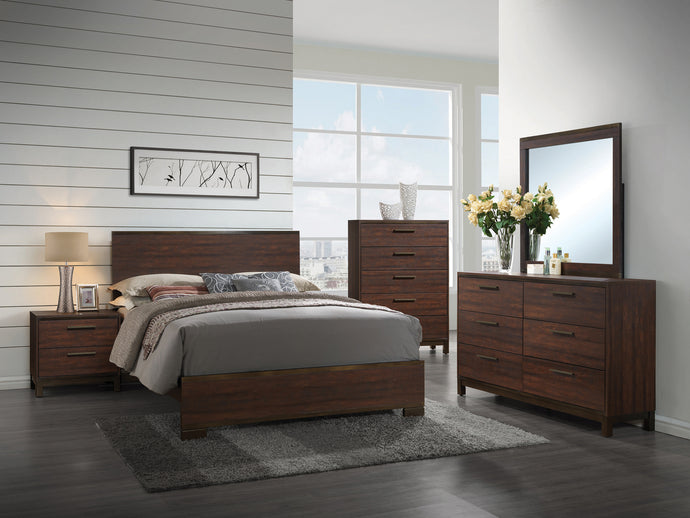 Coaster Edmonton Rustic Dark Oak 4 Piece Queen Bed Bedroom Set