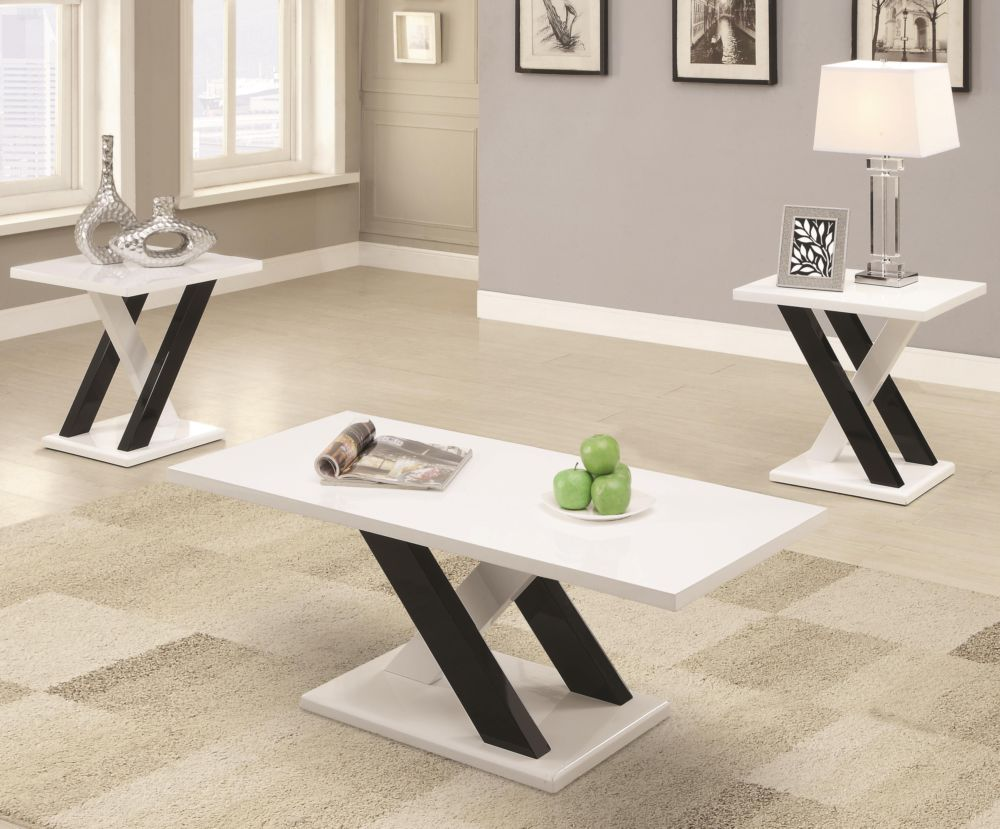 Coaster 3 Piece White Black Occisional Set