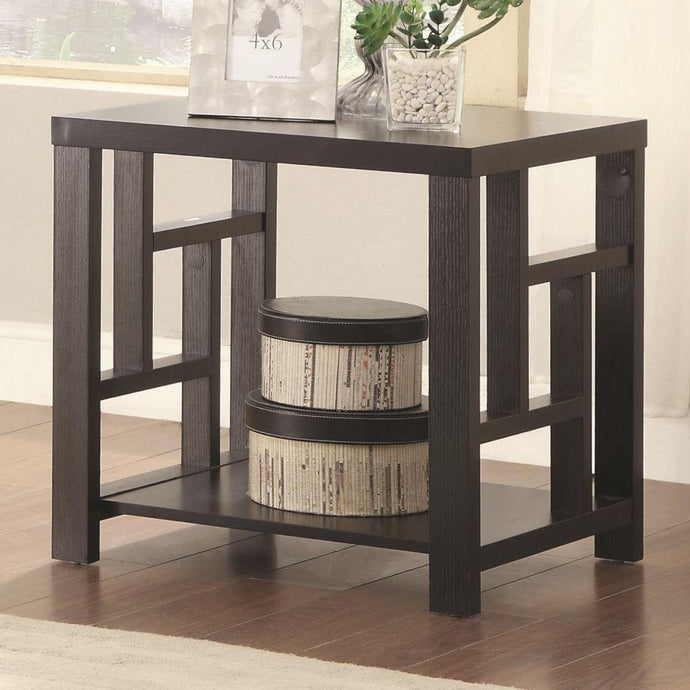 Transitional Cappuccino Wood End Table