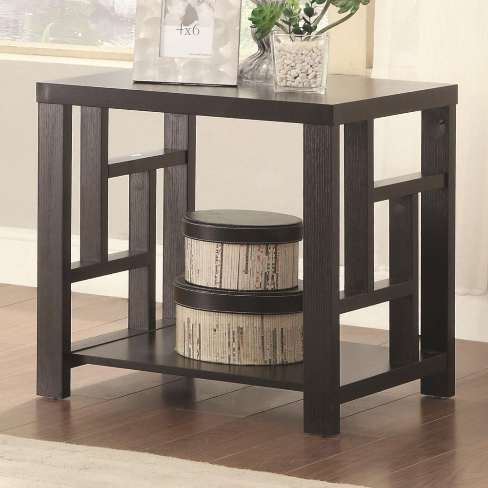 Coaster Transitional Cappuccino Wood End Table