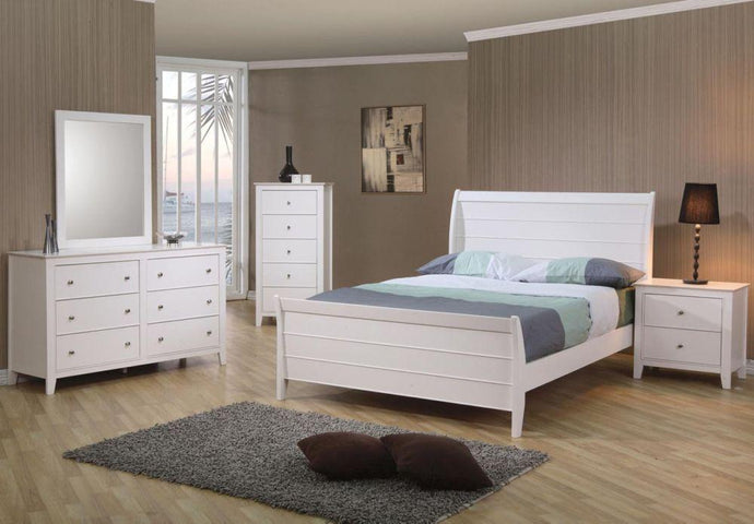 Selena White Full Sleigh Bedoom Set