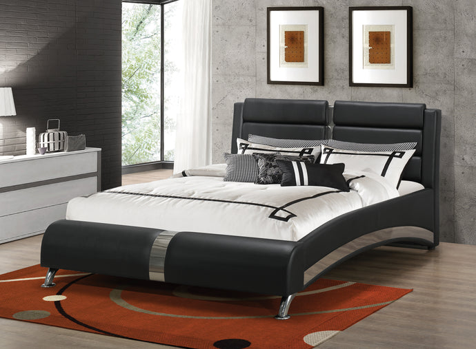 Coaster Jeremaine Black Upholstered Queen Bed