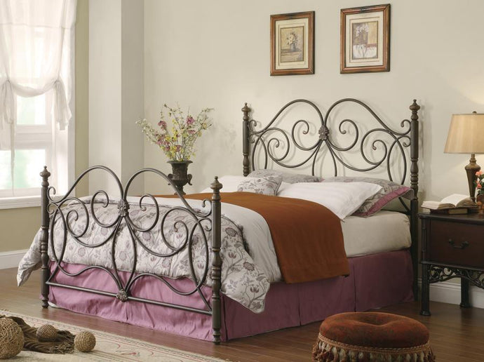 London Caramel Eastern King Metal Bed with Scroll Details