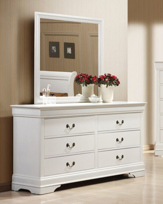 Coaster Louis Philippe White 6 Drawers Dresser with Mirror