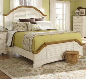 Oleta Oak and Buttermilk Cali King Panel Bed w Shutter Detail