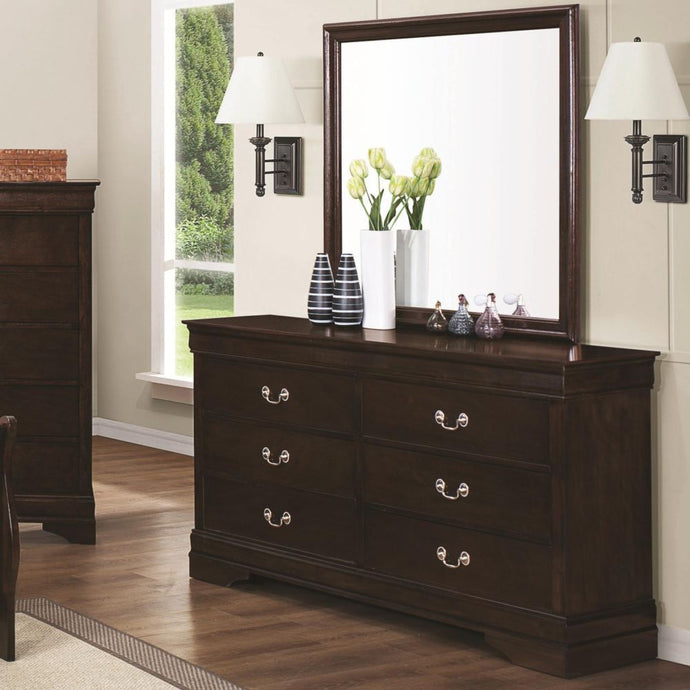 Coaster Louis Philippe Cappuccino 6 Drawers Dresser and Mirror