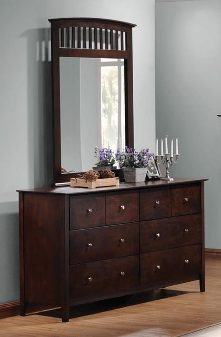 Coaster Tia Cappuccino 6 Drawers Dresser and Mirror
