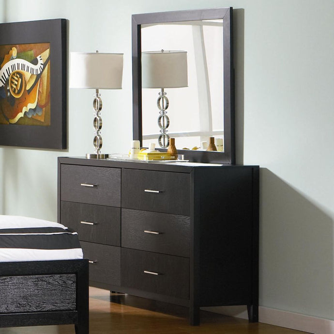 Coaster Grove Black 6 Drawers Dresser and Mirror