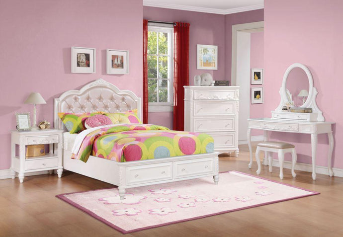 Caroline White Full Storage Bedroom Set