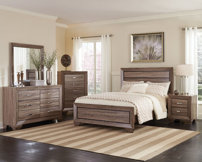 Coaster Kauffman Taupe 4 Piece Queen Bed Bedroom Set