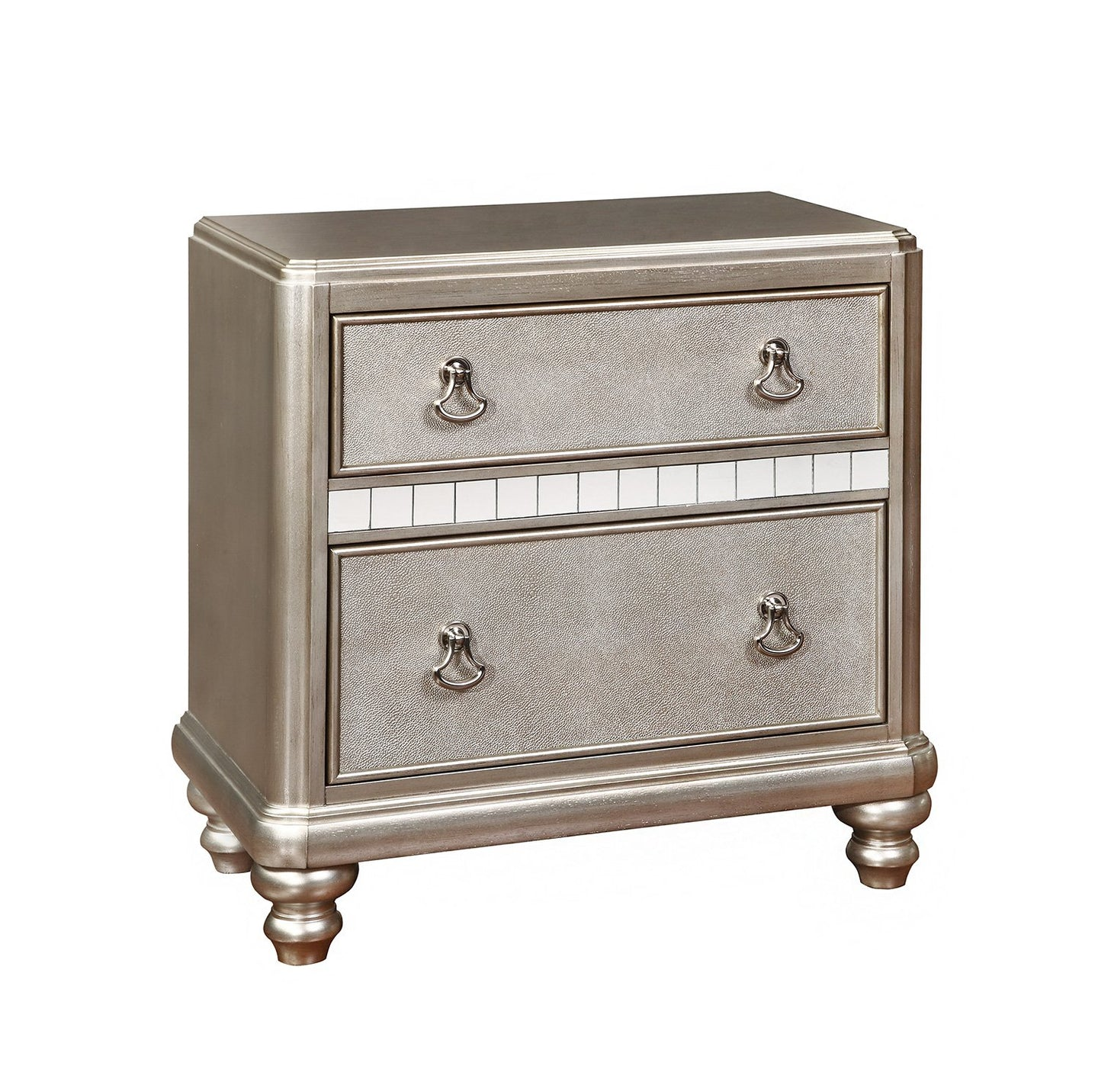 Bling Game Metallic Platinum Night Stand