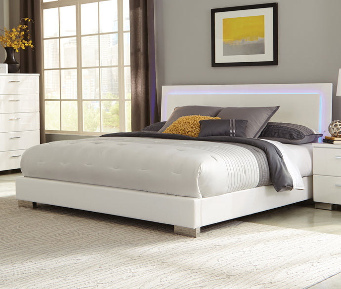 Coaster Felicity Glossy White LED Lighting Queen Bed