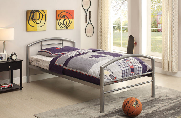 Homy Living Youth Baines Silver Metal Kids Boys Girls Twin Bed