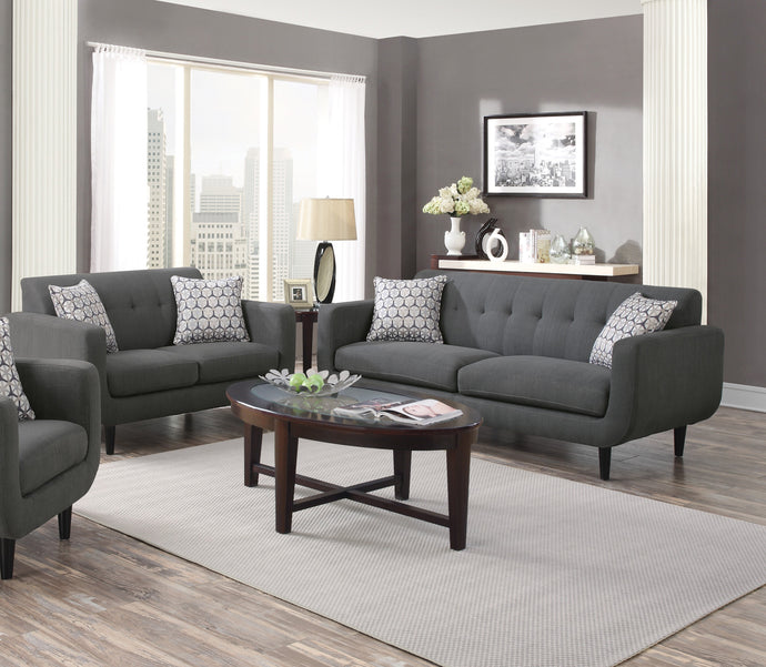 Stansall Grey Linen Li Sofa Couch and Loveseat
