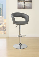 Load image into Gallery viewer, Coaster Gray Leather And Chrome Finish Adjustable Bar Stool