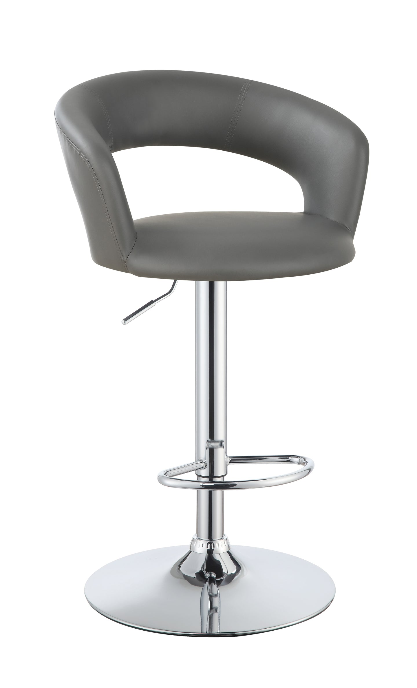 Coaster Gray Leather And Chrome Finish Adjustable Bar Stool