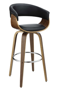 Coaster Walnut and Black Wood Finish Bar Stool