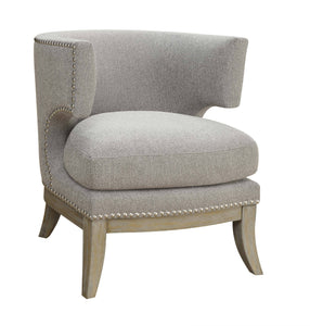 Contemporary Style Barrel Back Design Grey Accent Chair