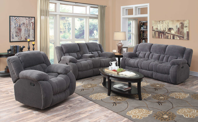 Coaster Weissman 3 Piece Charcoal Chenille Motion Sofa Living Room Set