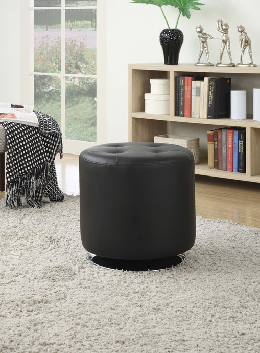 Contemporary Black And Chrome Polyester Finish Ottoman