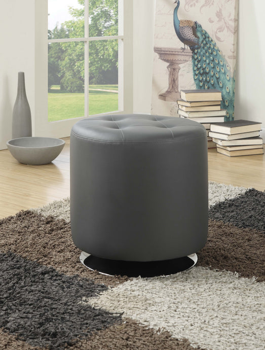 Contemporary Grey Polyester Finish Ottoman