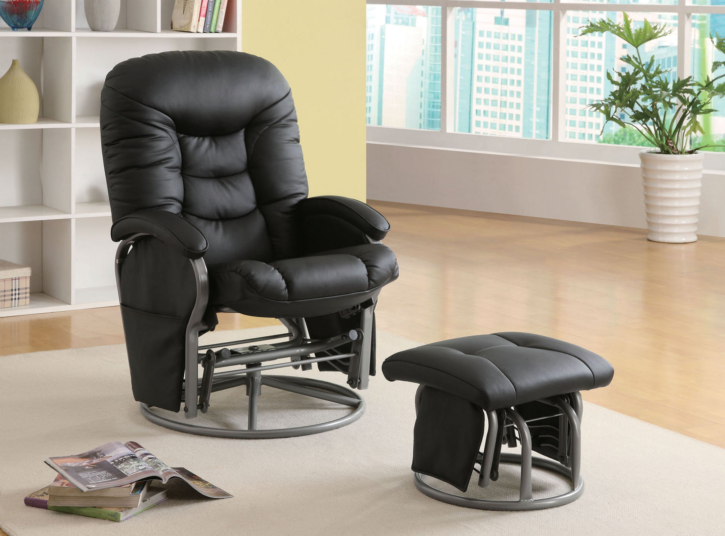 Black Leatherette Glider Recliner with Matching Ottoman
