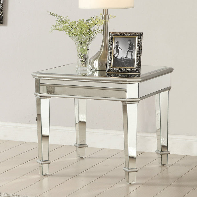 Contemporary Square Silver Mirrored End Table