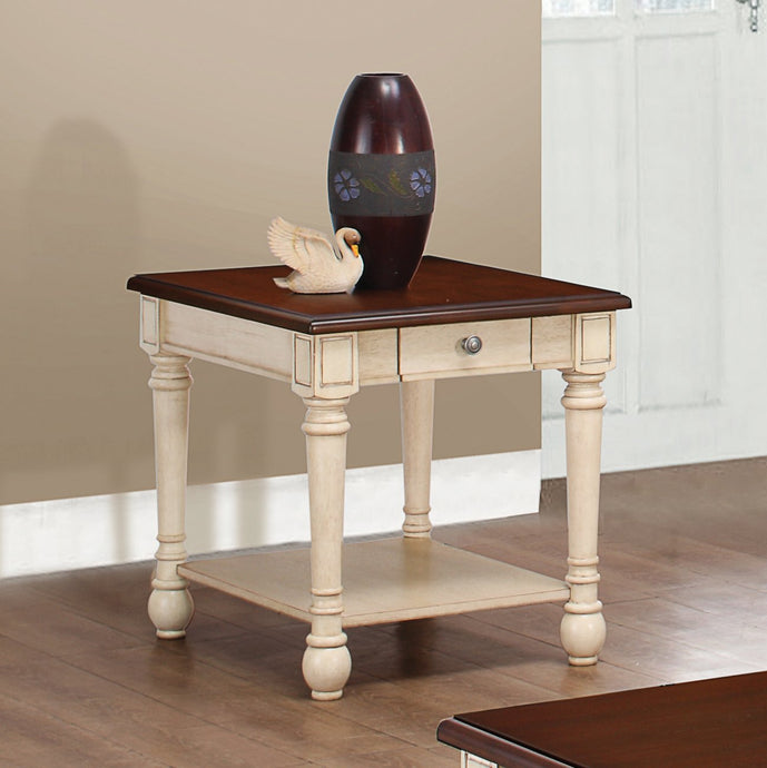 Dark Brown/ Antique White End Table