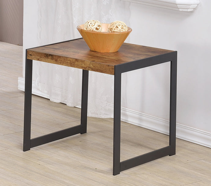 Homy Living Antique Nutmeg And Gunmetal Wood Finish End Table