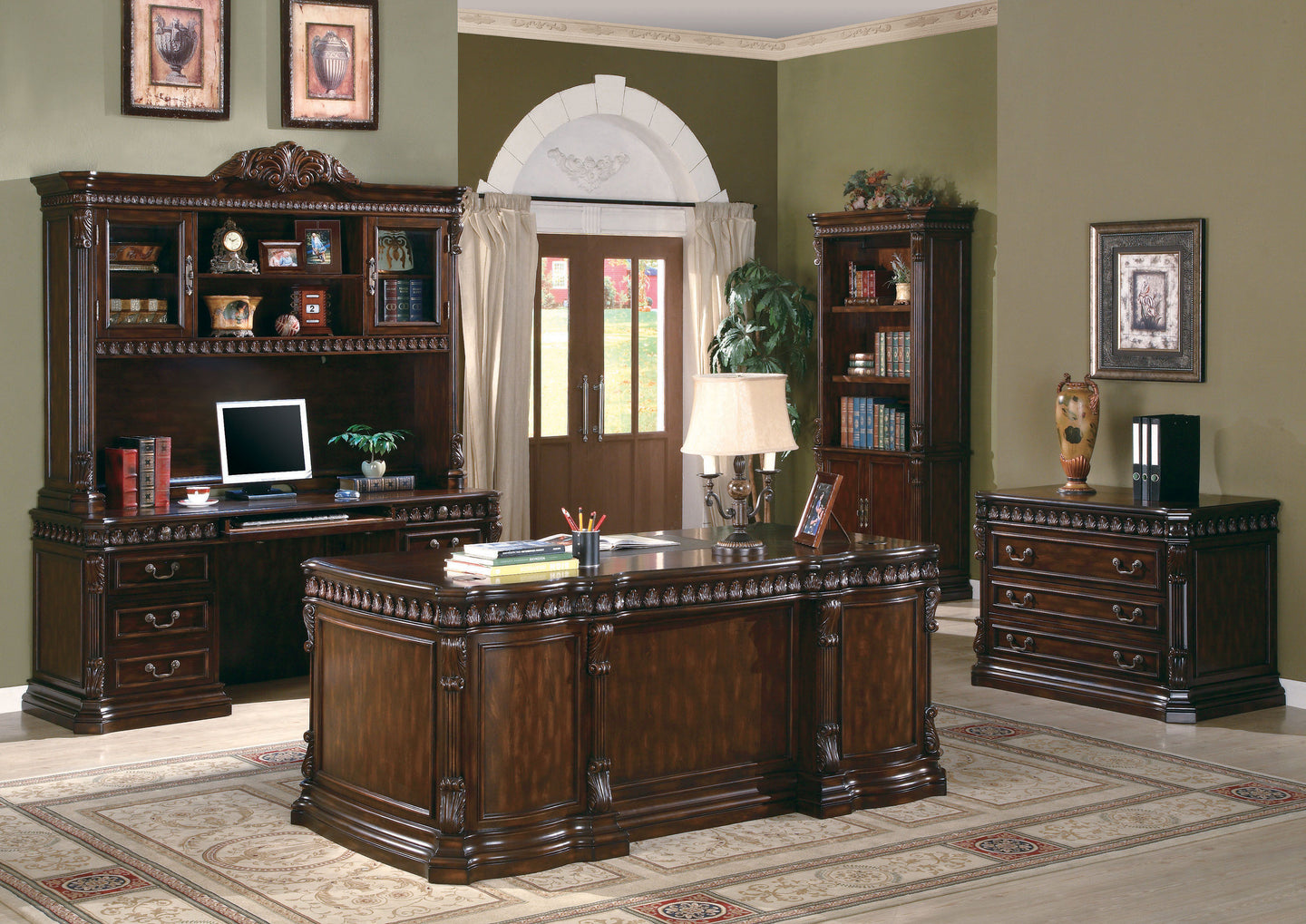Coaster Tucker Rich Brown Wood Finish 5 Piece Office Room Set