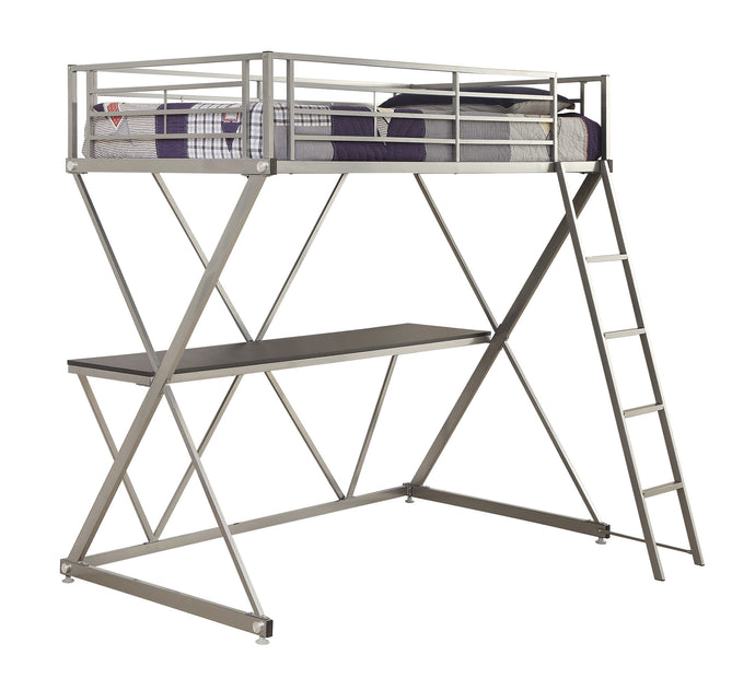 Coaster Silver Metal Twin Loft Bed with Workstation