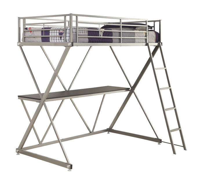 Silver Metal Full Loft Bed with Workstation