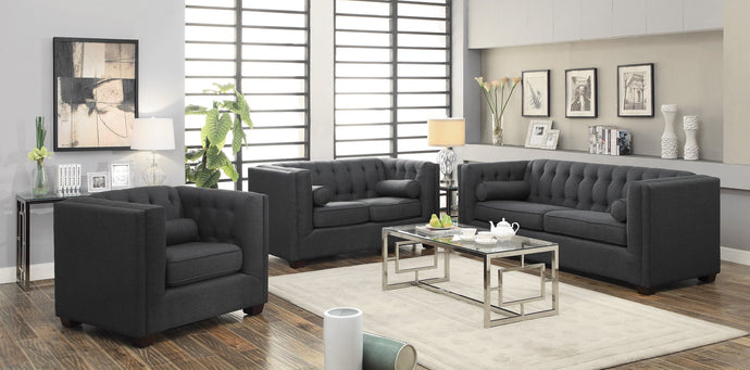 Cairns Transitional Charcoal Linen Living Room Set