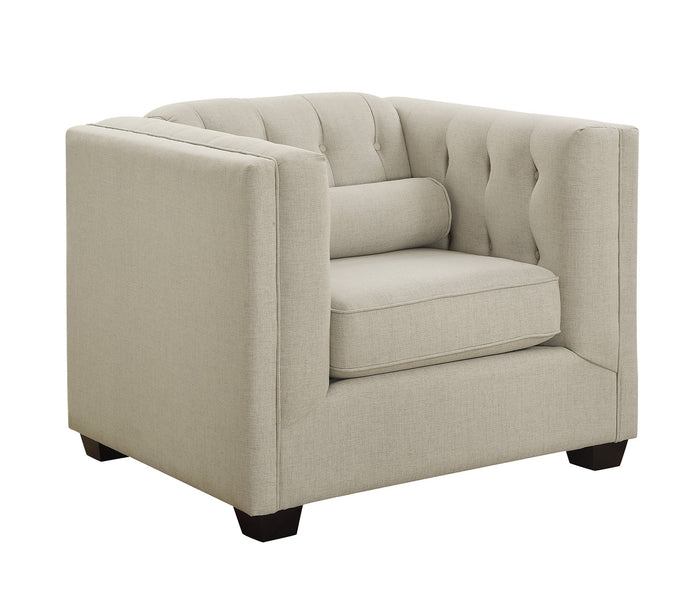 Homy Living Cairns Transitional Oatmeal Linen Fabric Finish Chair