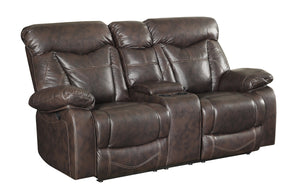 Zimmerman Dark Brown Leatherette Glider Loveseat