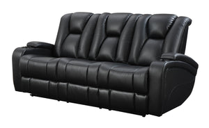 Delange Black Leatherette Power Sofa