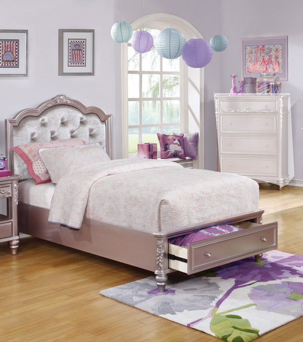 Caroline Kids Full Storage Bed with Upholstered Headboard
