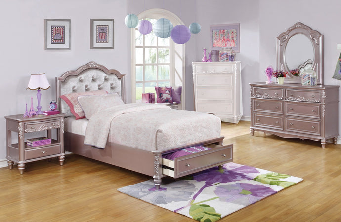 Caroline Metallic Lilac Kids Full Storage Bedroom Set