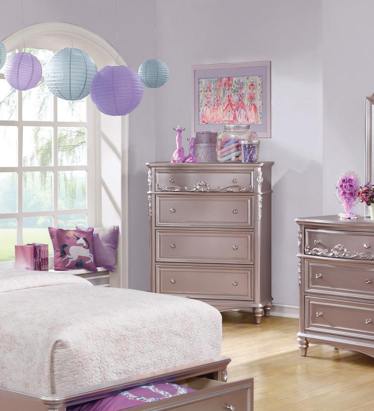 Homy Living Caroline Metallic Lilac Wood Finish 4 Drawer Chest
