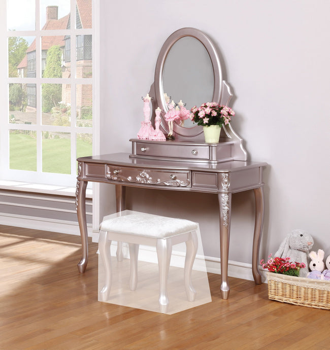 Homy Living Caroline Metallic Lilac Wood Finish Vanity Desk With Mirror