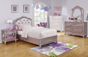 Caroline Metallic Lilac 4 PC Full Bedroom Set Upholstered Headboard
