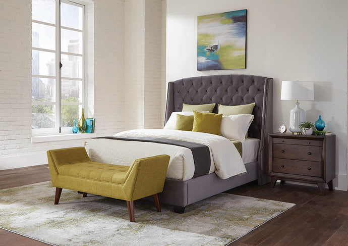 Coaster Grey Velvet Pissarro Upholstered California King Bed