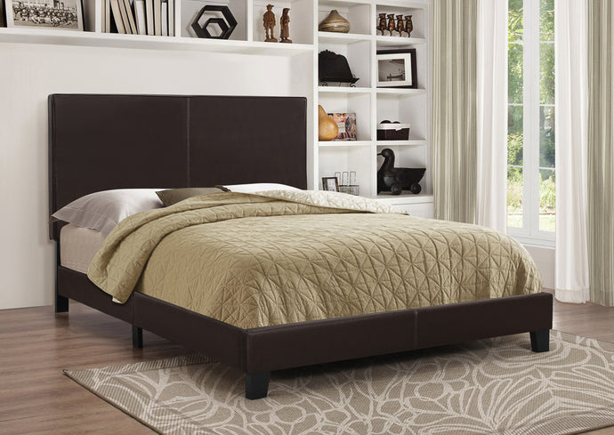 Dark Brown Leatherette Mauve Upholstered Full Platform Bed
