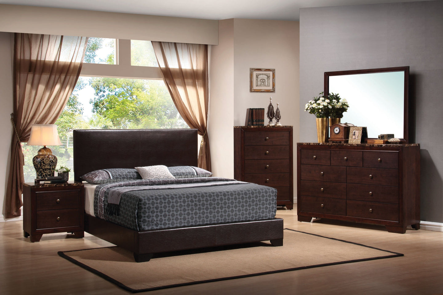 Dark Brown Leatherette Twin Bedroom Set