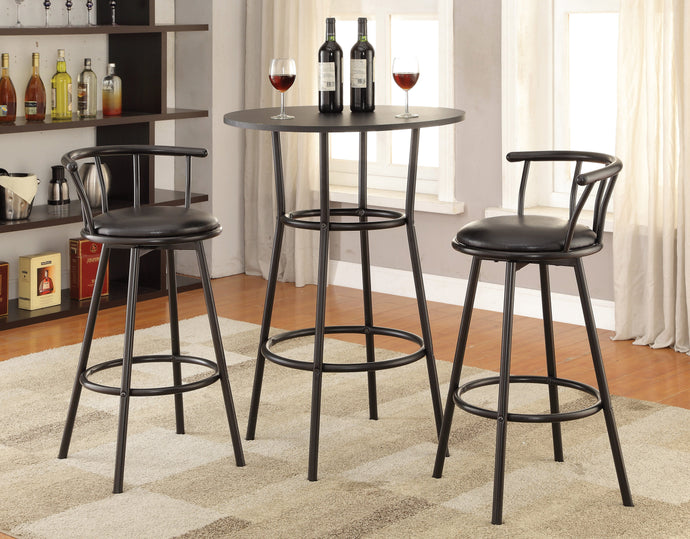 Black Wood Finish Contemporary 3 Piece Bar Table Set