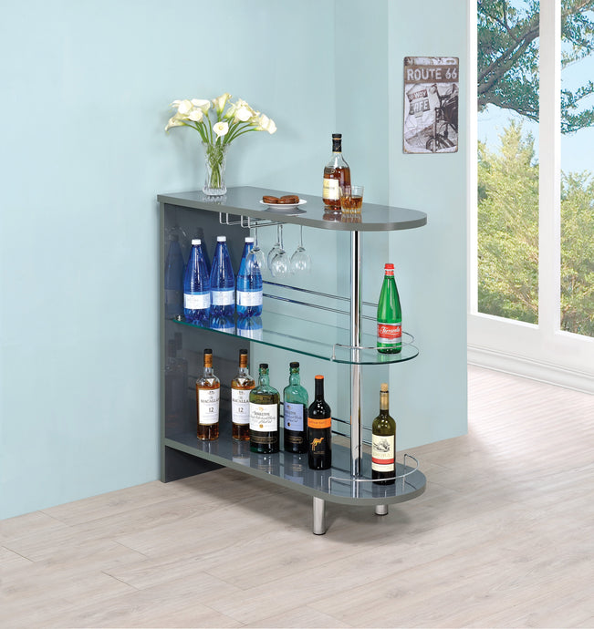 Glossy Grey Glass Top Bar Unit