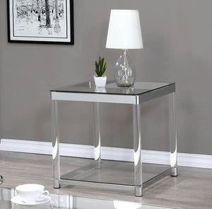 Coaster Claude Chrome Glass Top End Table
