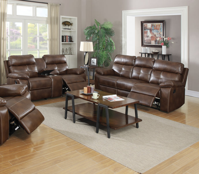 Coaster Damiano Motion Brown Breathable Leatherette Finish 2 Piece Sofa Set