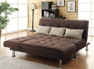 Homy Living Ellwood Collection Brown Microfiber Sofa Bed and Chaise Sofa