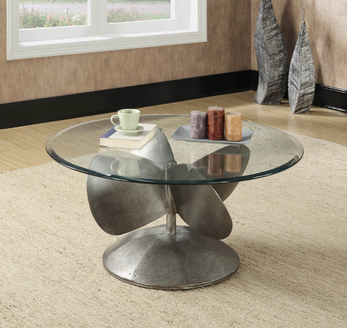 Aged Metal mm Tempered Beveled Glass Top Coffee Table